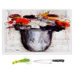 Artistic Kitchen Bar Cutting Boards | Hooshang Khorasani - Framed Bouquet 2 | Still Life Flowers Nature