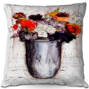 Throw Pillows Decorative Artistic | Hooshang Khorasani - Framed Bouquet 2 | Still Life Flowers Nature