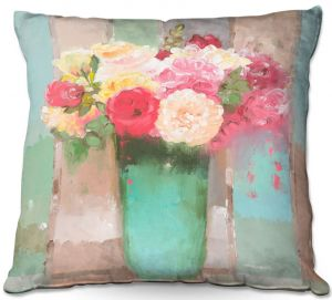Throw Pillows Decorative Artistic | Hooshang Khorasani - From the Flower Shop | still life painting flowers vase