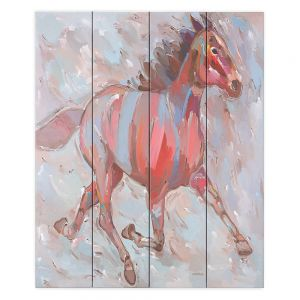 Decorative Wood Plank Wall Art   Hooshang Khorasani Full Stride Ahead Horse