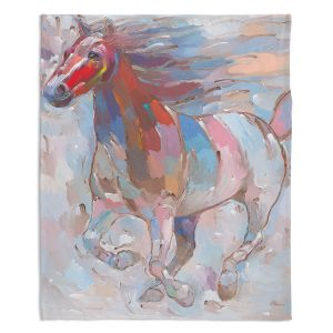 Decorative Fleece Throw Blankets | Hooshang Khorasani - Horse Power II Horse