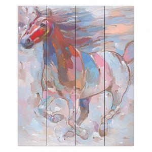 Decorative Wood Plank Wall Art   Hooshang Khorasani Horse Power II Horse