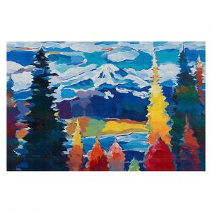 Decorative Floor Covering Mats | Hooshang Khorasani - Mountain View | mountain landscape forest abstract painterly
