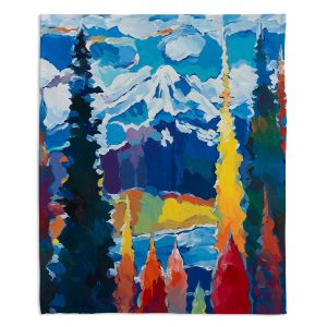 Artistic Sherpa Pile Blankets | Hooshang Khorasani - Mountain View | mountain landscape forest abstract painterly