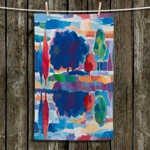 Unique Bathroom Towels | Hooshang Khorasani - Purple Majesty | forest landscape tree field lake
