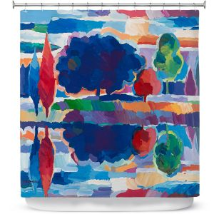 Premium Shower Curtains | Hooshang Khorasani - Purple Majesty | forest landscape tree field lake