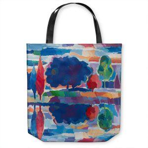 Unique Shoulder Bag Tote Bags | Hooshang Khorasani - Purple Majesty | forest landscape tree field lake