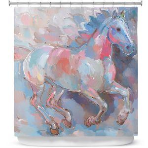 Premium Shower Curtains | Hooshang Khorasani Ready To Soar II Horse
