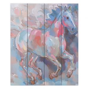 Decorative Wood Plank Wall Art   Hooshang Khorasani Ready To Soar II Horse