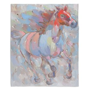 Decorative Fleece Throw Blankets | Hooshang Khorasani - Ready to Soar III Horses