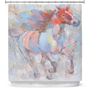 Premium Shower Curtains | Hooshang Khorasani - Ready to Soar III Horse