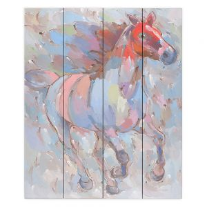 Decorative Wood Plank Wall Art   Hooshang Khorasani - Ready to Soar III Horse