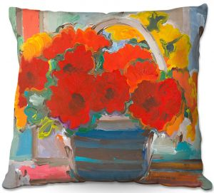 Unique Throw Pillows from DiaNoche Designs by Hooshang Khorasani - Red Bouquet Flowers |16X16