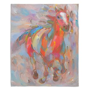 Decorative Fleece Throw Blankets | Hooshang Khorasani - Red Runner Horse