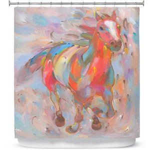Premium Shower Curtains | Hooshang Khorasani Red Runner Horse