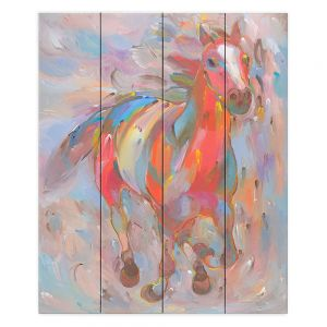 Decorative Wood Plank Wall Art   Hooshang Khorasani Red Runner Horse