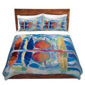 Artistic Duvet Covers and Shams Bedding | Hooshang Khorasani - Reflection of Beauty | forest landscape tree field lake