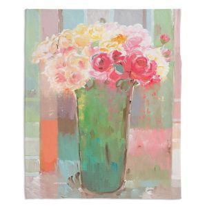 Decorative Fleece Throw Blankets | Hooshang Khorasani - Romantic Arrangement | still life painting flowers vase