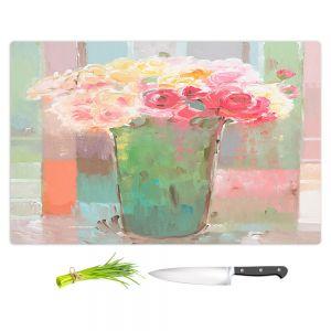 Artistic Kitchen Bar Cutting Boards | Hooshang Khorasani - Romantic Arrangement | still life painting flowers vase