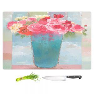 Artistic Kitchen Bar Cutting Boards | Hooshang Khorasani - Roses in Blue Vase | still life painting flowers vase