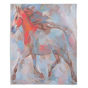 Decorative Fleece Throw Blankets | Hooshang Khorasani - Smooth Runner III Horse