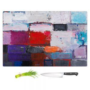 Artistic Kitchen Bar Cutting Boards | Hooshang Khorasani - Snowfall | abstract geometric pattern painterly