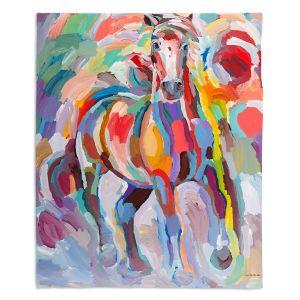 Decorative Fleece Throw Blankets | Hooshang Khorasani - Stallion Colors | Abstract Animals Horses