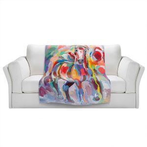 Artistic Sherpa Pile Blankets | Hooshang Khorasani - Stallion Colors | Abstract Animals Horses
