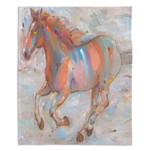 Decorative Fleece Throw Blankets | Hooshang Khorasani - Stormy Racer Horse