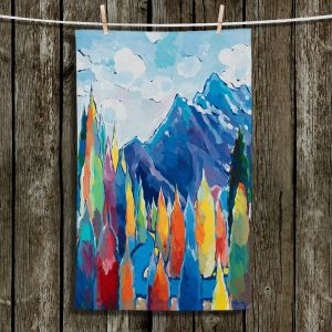 Unique Hanging Tea Towels   Hooshang Khorasani - Stream of Solitude   mountain forest trees clouds