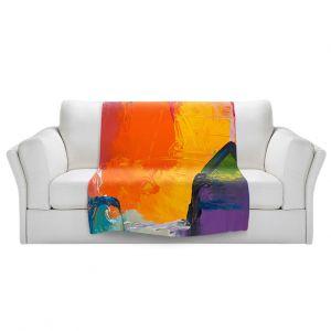 Artistic Sherpa Pile Blankets | Hooshang Khorasani - Sunny Side | abstract simple geometric squares brushstrokes