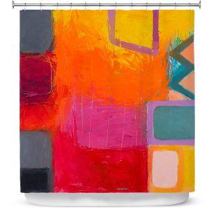Premium Shower Curtains | Hooshang Khorasani - Sunset | geometric abstract square