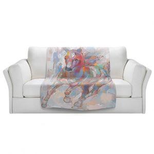 Artistic Sherpa Pile Blankets | Hooshang Khorasani - Takin' the Turn Horse