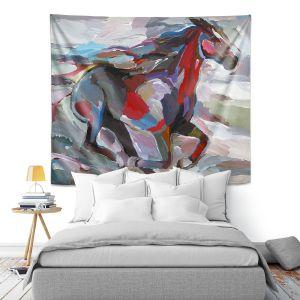 Artistic Wall Tapestry   Hooshang Khorasani - The Racer   Abstract Animals Horses