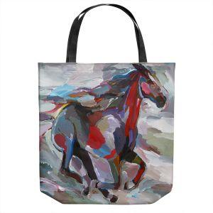 Unique Shoulder Bag Tote Bags | Hooshang Khorasani - The Racer | Abstract Animals Horses