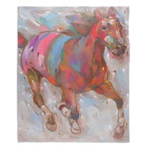 Decorative Fleece Throw Blankets | Hooshang Khorasani - Wind Racer Horse