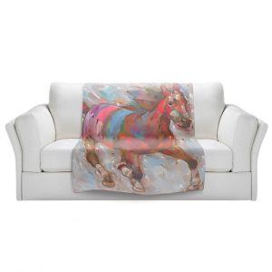 Artistic Sherpa Pile Blankets | Hooshang Khorasani Wind Racer Horse