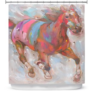 Premium Shower Curtains | Hooshang Khorasani Wind Racer Horse