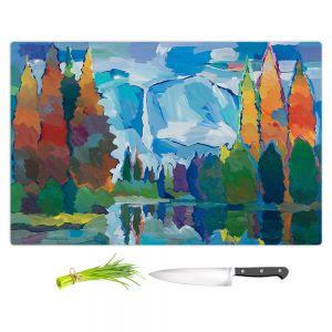 Artistic Kitchen Bar Cutting Boards | Hooshang Khorasani - Window to Grandeur | landscape mountain forest stream water