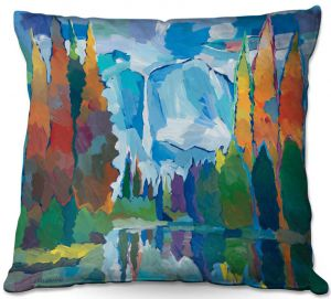 Throw Pillows Decorative Artistic | Hooshang Khorasani - Window to Grandeur | landscape mountain forest stream water