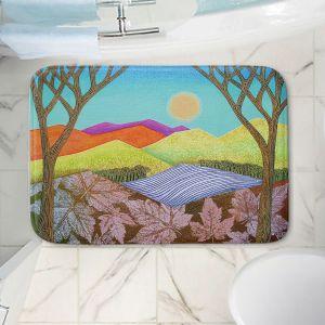 Decorative Bathroom Mats | Jennifer Baird - Autumn Into Winter | Mountains Trees River Nature Autumn Winter