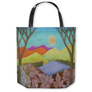 Unique Shoulder Bag Tote Bags | Jennifer Baird - Autumn Into Winter | Mountains Trees River Nature Autumn Winter