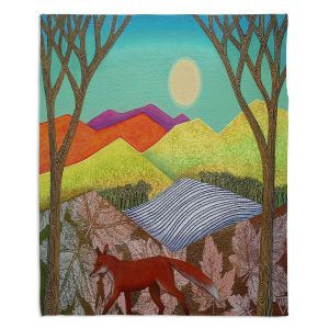 Decorative Fleece Throw Blankets | Jennifer Baird - Autumn Into Winter 2 | simple landscape surreal pattern
