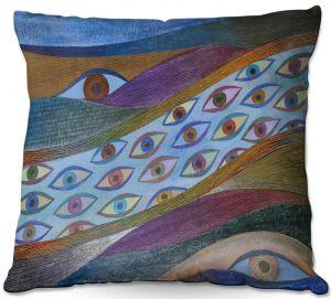 Decorative Outdoor Patio Pillow Cushion | Jennifer Baird - Awake and Aware | abstract eye flow