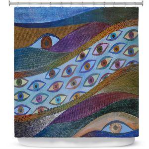 Premium Shower Curtains | Jennifer Baird - Awake and Aware | abstract eye flow