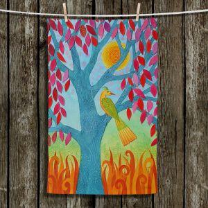 Unique Bathroom Towels | Jennifer Baird - Bird In Red Leaf Tree | Trees Nature Birds