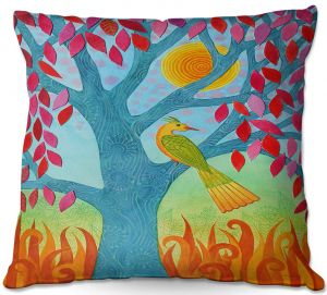 Unique Outdoor Pillow 16X16 from DiaNoche Designs by Jennifer Baird - Bird In Red Leaf Tree
