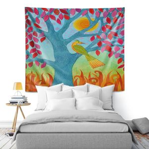 Artistic Wall Tapestry | Jennifer Baird - Bird In Red Leaf Tree | Trees Nature Birds
