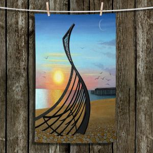 Unique Hanging Tea Towels | Jennifer Baird - Boat Sculpture | still life beach ocean coast