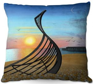 Decorative Outdoor Patio Pillow Cushion | Jennifer Baird - Boat Sculpture | still life beach ocean coast
